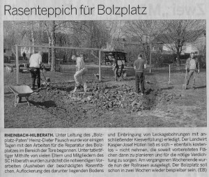 Rasenreparatur Bolzplatz Hilberath