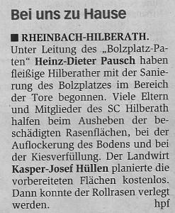Reparatur Bolzplatz Hilberath