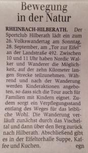 Ankündigung Volkswandertag, 25. September im Generalanzeiger